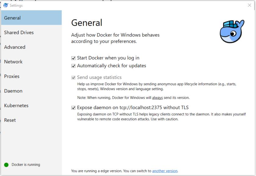 Docker for Windows (Windows 10 Pro or better) - CUE Front